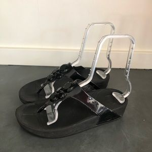 FITFLOP LUNETTA Black Jewel Sandals Flip Flops